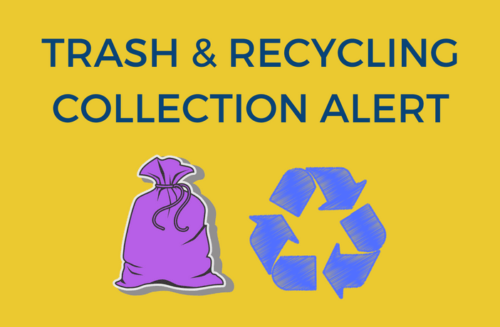 trash and recycling collection alert