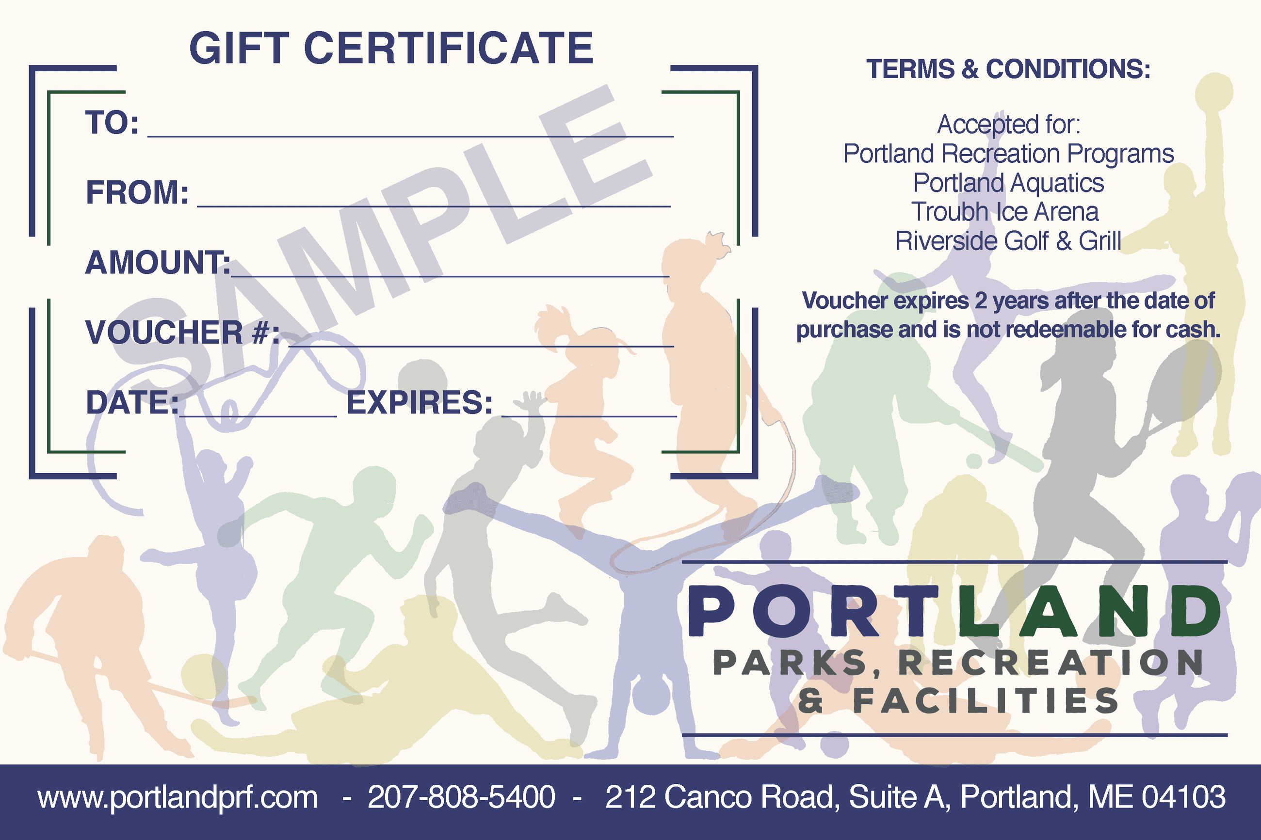 City of Portland Parks, Recreation & Facilities Gift Certificate, Portland, ME 04103
