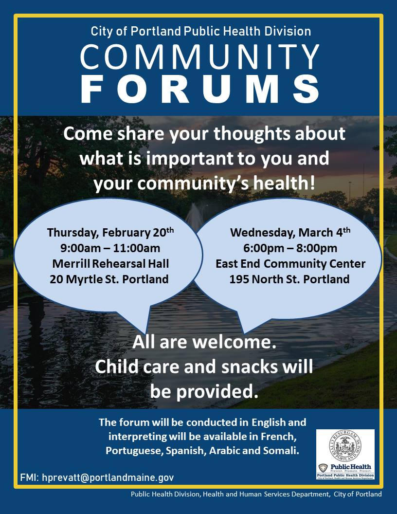 Flyer for Public Health Division Community Forums