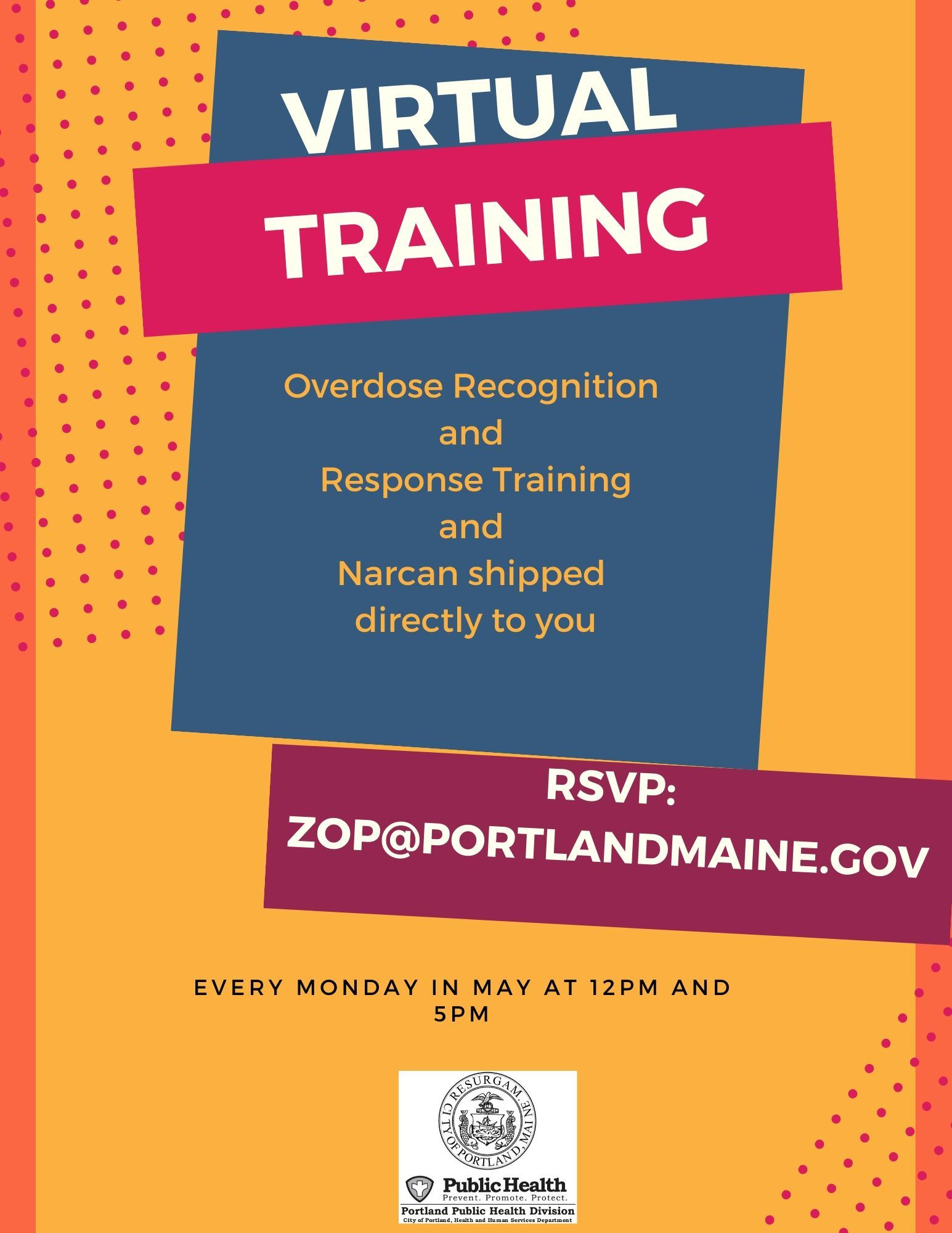 Flyer for Virtual Overdose and Response Training